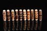 ☆発色が綺麗な象牙色☆激安☆図案色々☆象牙色天珠詰め合わせセット(10個入り)-6