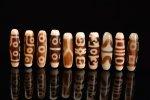 ☆発色が綺麗な象牙色☆激安☆図案色々☆象牙色天珠詰め合わせセット(10個入り)-9