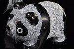 【天然石アニマル彫刻】オブシディアン製パンダ彫刻置物(長さ約38mm)