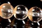 ★店長一押し商品★半分クリアで半分淡いオレンジカラー☆幻想な色合い☆オレンジアンフィボールインクォーツブレスレット約7.5mm-8