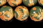 ☆激安☆【天然石彫刻ビーズ】アベンチュリン 金箔鍍金 玉持ち龍 12mm
