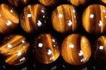 【天然石ビーズ連】☆金運を高めるパワーストーン☆タイガーアイ丸玉ビーズ8mmAA+(double eyes)