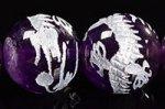 【天然石彫刻ビーズ連】【銀箔】【手彫り】★龍玉/五爪龍★龍彫り入りアメジスト彫刻ビーズ1連12mm