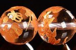 【天然石彫刻ビーズ連】 天然水晶/金箔/龍玉・祥雲付き 龍彫り入りゴールドカラーメッキ天然水晶ビーズ連10mm