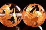 【天然石彫刻ビーズ連】 天然水晶/金箔/龍玉・祥雲付き 龍彫り入りゴールドカラーメッキ天然水晶ビーズ連12mm
