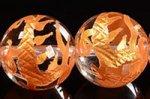 【天然石彫刻ビーズ連】 天然水晶/金箔/四神獣 青龍彫り入りゴールドカラーメッキ天然水晶ビーズ連10mm