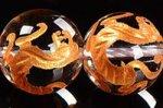 【天然石彫刻ビーズ連】 天然水晶/金箔/四神獣 白虎彫り入りゴールドカラーメッキ天然水晶ビーズ連10mm