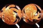 【天然石彫刻ビーズ連】 天然水晶/金箔/四神獣 玄武彫り入りゴールドカラーメッキ天然水晶ビーズ連10mm
