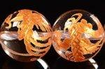 【天然石彫刻ビーズ連】 天然水晶/金箔/四神獣 朱雀彫り入りゴールドカラーメッキ天然水晶ビーズ連10mm