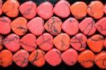 【ハート型天然石ビーズ】赤ハウライト(染め)(特価数量限定再入荷予定無し)8*4.5mm-1