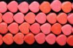 【ハート型天然石ビーズ】赤ハウライト(染め)(特価数量限定再入荷予定無し)8*4.5mm-2