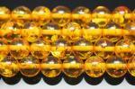 イエロー人工琥珀(樹脂)丸玉ビーズ12mm