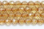 シャンパン色64面カット天然水晶6mm