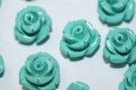 合成珊瑚(染め)ローズ彫刻ビーズ10mm(粒売り)(グリーン)