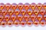 オレンジオーロラ天然水晶丸玉ビーズ8mm