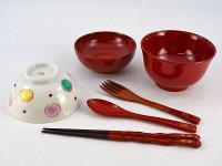 【名入れ】ベビー食器セットC 女の子用  越前漆器のお椀と九谷焼のお茶碗 全6点セット  名入れ代金込み