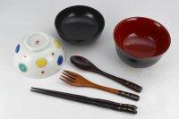 【名入れ】ベビー食器セットC 男の子用 越前漆器のお椀と九谷焼のお茶碗 全6点セット 名入れ代金込み