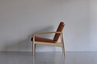 Paper Knife Sofa 1seat (white ash x leather/camel) - Kai Kristiansen