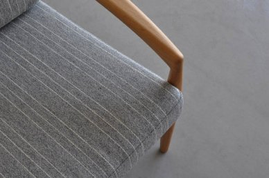 Paper Knife Sofa 1seat (oak x gray・stripe) - Kai Kristiansen