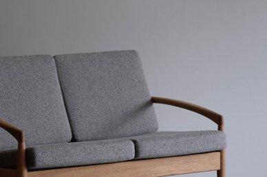 Paper Knife Sofa 2seat (oak x tweed gray) - Kai Kristiansen