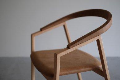 C chair (beech x leather/camel) - Makoto Koizumi