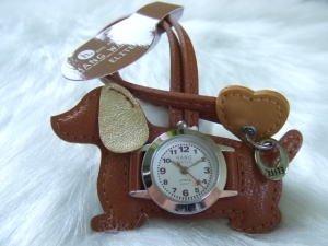 バックにつけるかわいい時計/ダックスフンド ブラウン