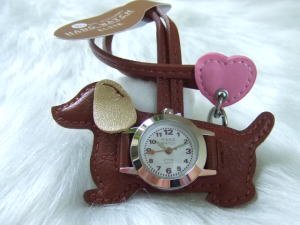 バックにつけるかわいい時計/ダックスフンド ダークブラウン