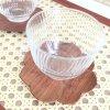 《TEA SET》 ガラスカップ&ウッドフラワーマット