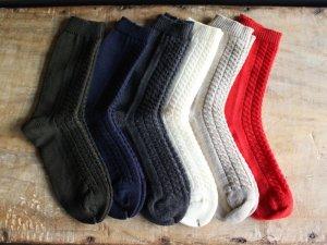 ケーブル編みと透かしの靴下<br>everlasting sprout