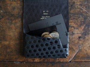 コインケース付カードケース<br>ドット革 所作