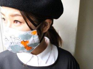 グレーオレンジマスク【綿】<Br>195modèle×Tanemaki