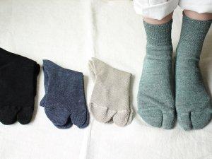 【15】リネン足袋ショートソックス(Xマシン)<br>【4色】靴下職人
