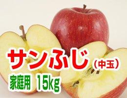 【12月発送】【中玉】サンふじ 家庭用15kg(約54〜60玉)