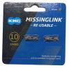 KMC ミッシングリンク 10s用 (CL559R-N) KMC/シマノ用 シルバー 2個入り