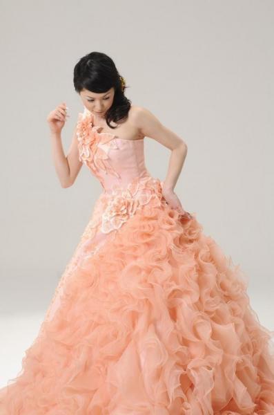 0ef9894e3cbb5 カラードレス サーモンピンク - オリジナルウェディングドレス・レンタル衣装 アトリエ ルーチェ