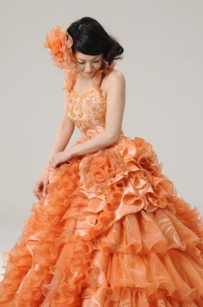 80799687b3f00 カラードレス オレンジ - オリジナルウェディングドレス・レンタル衣装 アトリエ ルーチェ