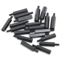 Nylon Pillar Hex Spacer (Single Flat Head / Black / M3x20+6mm / 20pcs) [03-655]