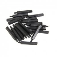 Nylon Pillar Hex Spacer (Single Flat Head / Black / M3x30+6mm / 20pcs) [03-657]