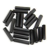 Nylon Pillar Hex Spacer (Double Flat Head / Black / M3x25mm / 20pcs) [03-660]