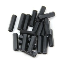 Nylon Pillar Hex Spacer (Double Flat Head / Black / M2x15mm / 20pcs)[09-264]