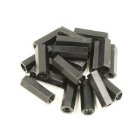 Nylon Pillar Hex Spacer (Double Flat Head / Black / M2x25mm / 20pcs)[09-267]