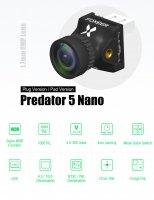 Foxeer Nano Predator 5 Racing Camera 4ms Latency Super WDR (1.7mm Black / Plug Version) [09-730]