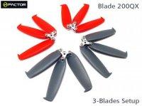 Helifactor 200QX 3-Blades Prop set (4 Blade Grips, 12 Blades) (HF200QX01)