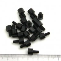 Nylon Pillar Hex Spacer (Single Flat Head / Black / M3x5+6mm / 20pcs) [03-644]