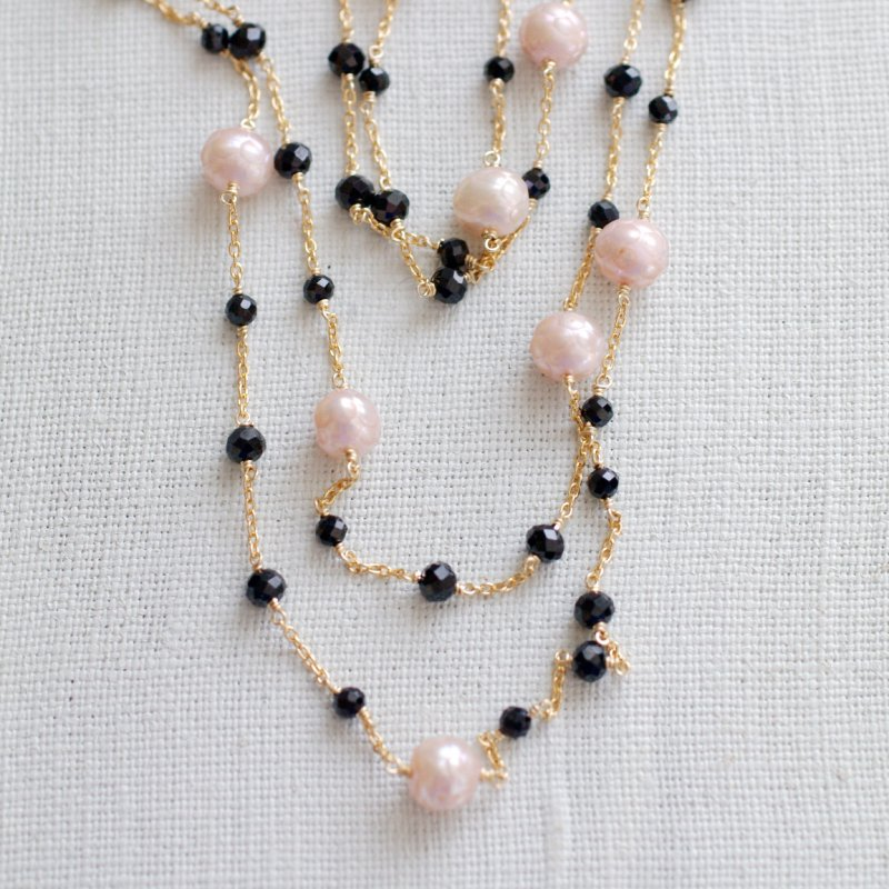 PinkPearl & BlackSpinel Rope(necklace)