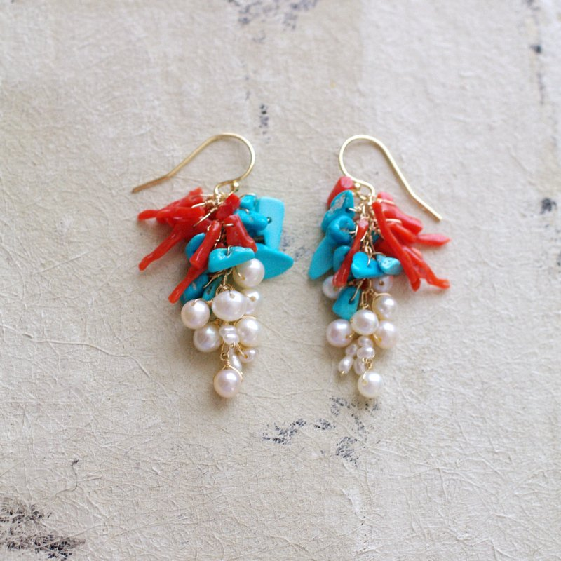 fusa : Coral & Turquoise & Pearl(earring)