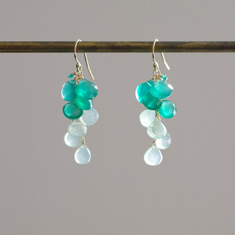 fusa : GreenOnyx & GreenChalcedony(earring)
