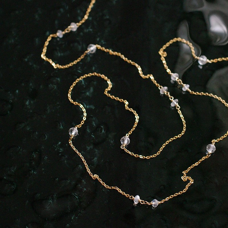chain : WhiteTopaz, Bluemoon(necklace)60cm