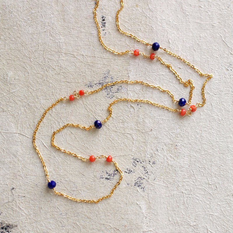 chain : Coral , LapisLazuli(necklace)