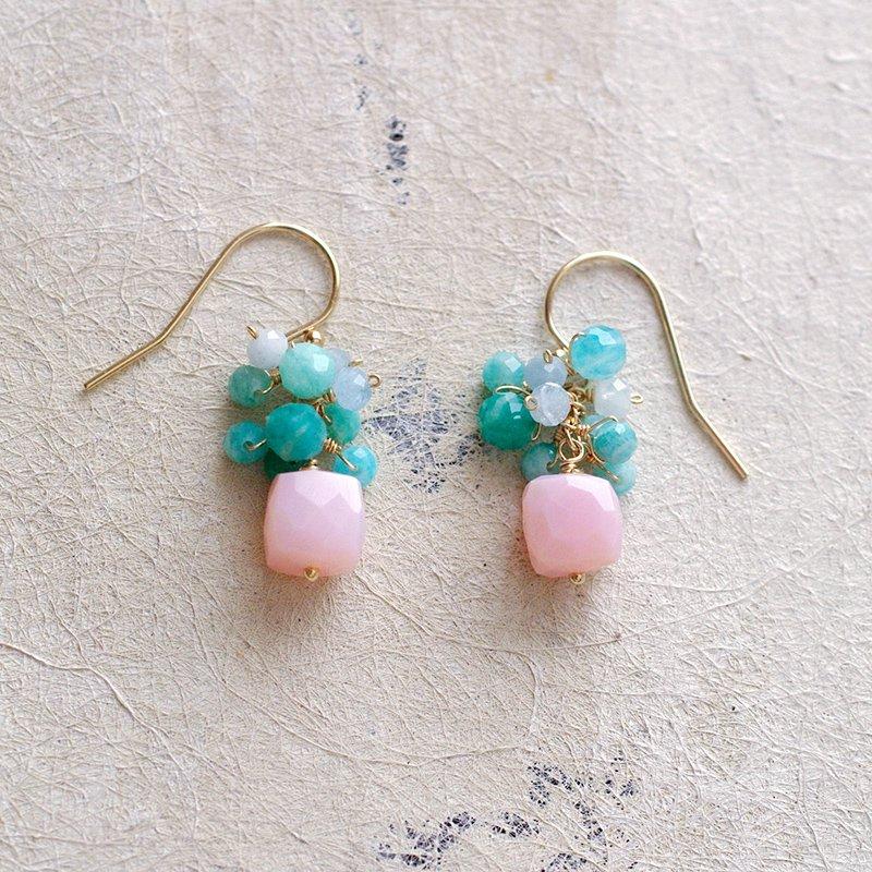 fusa : Amazonite, pink Opal(earring)